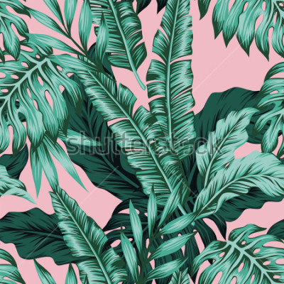 Fototapeta Tropical vector green leaves seamless pattern pink background. Exotic wallpaper