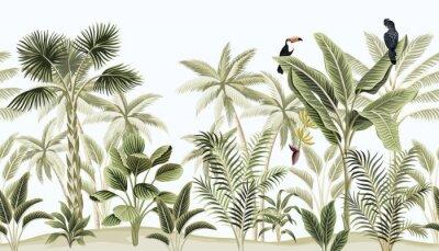 Fototapeta Tropical vintage botanical landscape, palm tree, banana tree, plant, black parrot, toucan floral seamless border blue background. Exotic green jungle animal wallpaper.