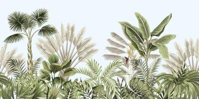 Fototapeta  Tropical vintage botanical landscape, palm tree, banana tree, plant floral seamless border blue background. Exotic green jungle wallpaper.