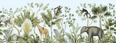 Fototapeta Tropical vintage botanical landscape, palm tree, banana tree, plant, palm leaves, giraffe, monkey, elephant floral seamless border blue background. Jungle animal wallpaper.