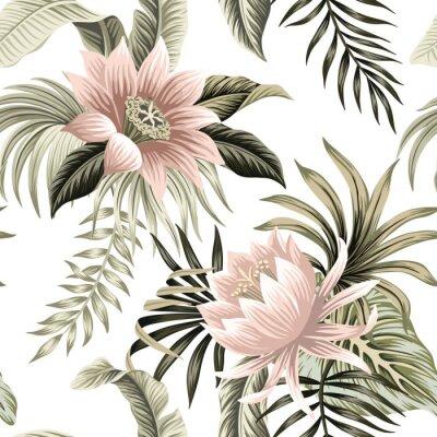 Fototapeta Tropical vintage pink lotus, palm leaves, banana leaves floral seamless pattern white background. Exotic jungle wallpaper.
