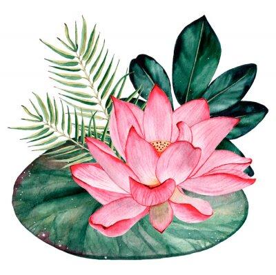 Fototapeta Tropical watercolor bouquet and composition
