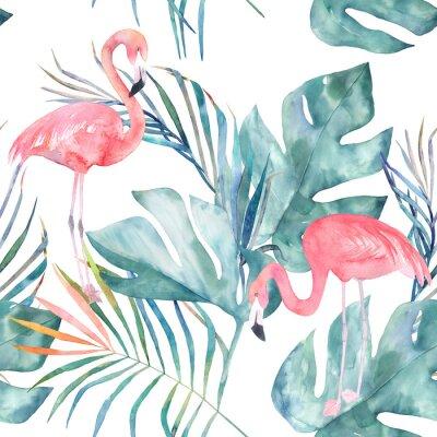 Fototapeta Tropikalna bez szwu deseń z flamingo i liści. Druk akwarelowy latem. Egzotyczne ręcznie rysowane ilustracji