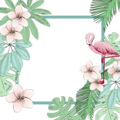Fototapeta Tropikalna wektorowa ilustracja z flamingiem i kwiatami.