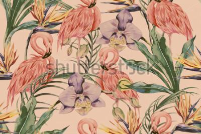 Fototapeta Tropikalne kwiaty, liście palmowe, rośliny dżungli, orchidea, kwiat rajskiego ptaka, różowe flamingi, bezszwowe tło kwiatowy wzór, egzotyczne tapety botaniczne, styl vintage boho
