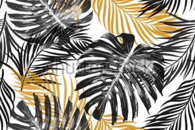 Fototapeta Tropikalne liście palmowe, liście dżungli. Piękny bezszwowy wektorowy modny modny abstrakcjonistyczny tropikalny kwiecisty deseniowy tło