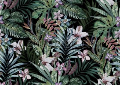 Fototapeta tropikalny kwiatowy wzór. różnorodność kwiatów dżungli i wysp w bukiety w ciemnym egzotycznym druku. projekt allover, realistyczna ilustracja akwarela vintage.