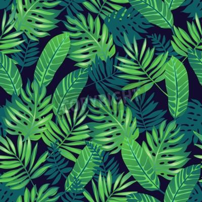 Fototapeta Tropikalny modny bez szwu deseń egzotycznych liści palmowych.