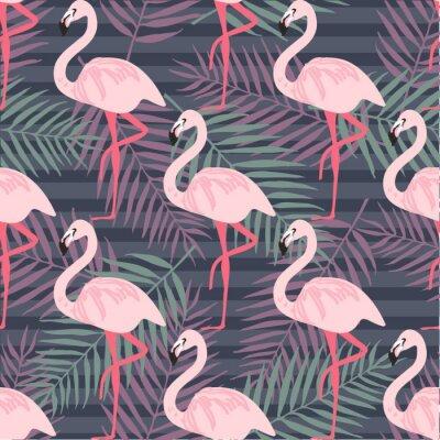 Fototapeta Tropikalny modny bez szwu deseń z różowy Flaming, ananasów, liści tropikalnych. Tła plaży. Tropikalny raj