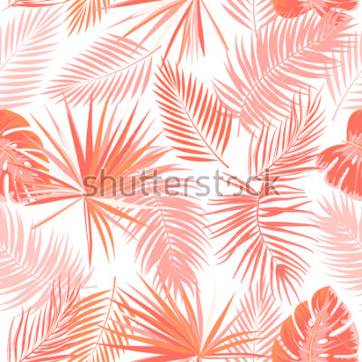 Fototapeta Tropikalny wektor wzór w Żywy kolor koral. Główna koncepcja trendu. Project botaniki, liści palmy dżungli.