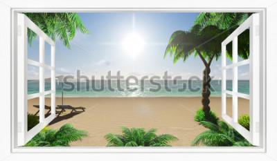 Fototapeta Tropikalny widok na morze z plaży