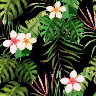 Fototapeta Tropikalny wzór. Liście palmy i kwiat. Ręcznie rysowane ilustracji wektorowych. Lato w tle