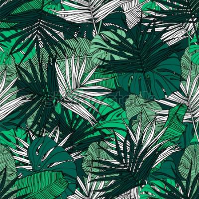 Fototapeta Tropikalny wzór. Ręcznie rysowane ilustracja z liści roślin tropikalnych. Tekstura z liśćmi bananów, palmą i monstera. Lato wektor wzór.