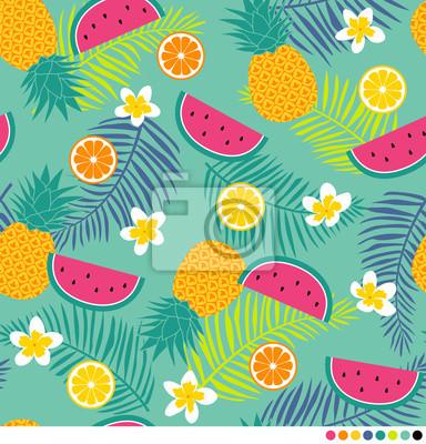 Fototapeta Tropikalny wzór z ananasem, plumeria, liść palmowa, arbuz i owoce cytrusowe