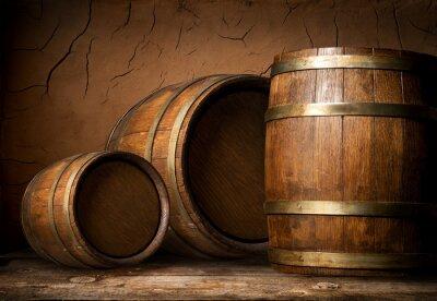 Fototapeta Trzy drewniane beczki