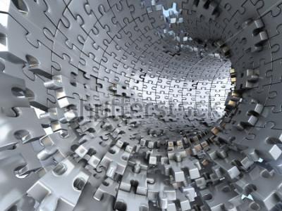 Fototapeta Tunel wykonany z metalowych łamigłówek. Koncepcyjna ilustracja 3d,