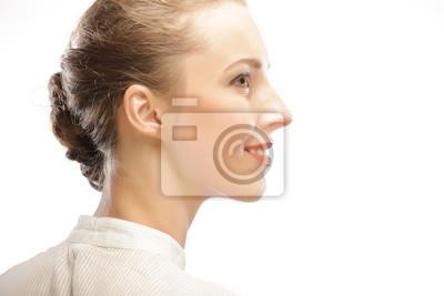 Fototapeta Twarz Kobiety W Profilu Z Makijażu I Fryzury