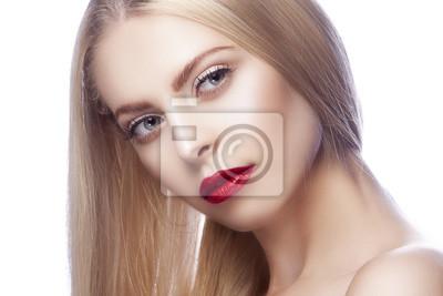 Twarz Pięknej Kobiety Czerwone Usta Niebieskie Oczy Blondynki
