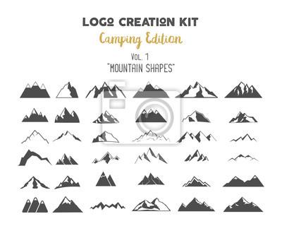 Fototapeta tworzenie logo Zestaw wiązki. Camping zestaw Edition. Górskie kształty wektorowe i elementy Stwórz własną etykietę na świeżym powietrzu, pustynia retro łatkę, Przygody rocznika odznaki, turystyka znac