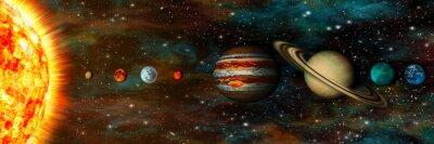 Fototapeta Układ Słoneczny, planety z rzędu, ultrawide