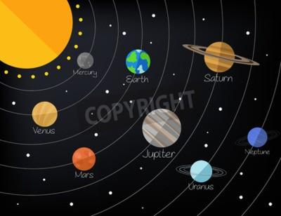 Fototapeta Układ Słoneczny. Wektor ilustracja płaskie