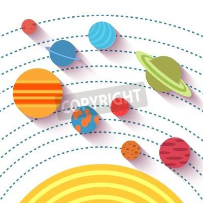 Fototapeta Układu Słonecznego i przestrzeni obiektów. Wektor zestaw w stylu płaskiej.