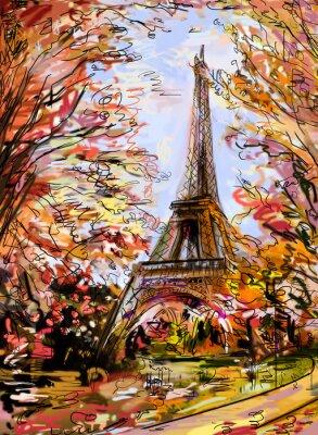 Fototapeta Ulica jesienią Paryżu. Wieża Eiffla -sketch ilustracji