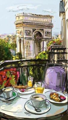 Fototapeta Ulica w Paryżu - ilustracja