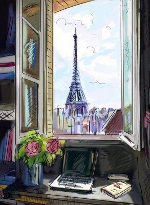 Fototapeta Ulica w Paryżu. Wieża Eiffla - ilustracja