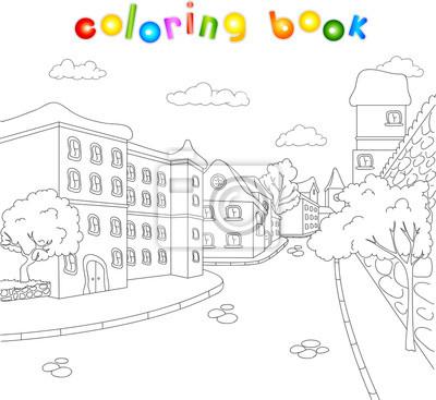 Ulice Starego Miasta Kolorowanka Dla Dzieci O Archit Fototapeta