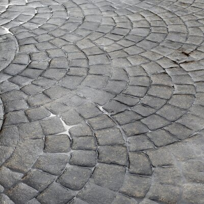Fototapeta Uliczny bruk po deszczu, miastowy tło, tekstura