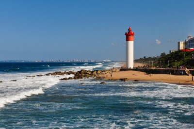 Fototapeta Umhlanga Leuchtturm mit ALS Durban tła; südafrika