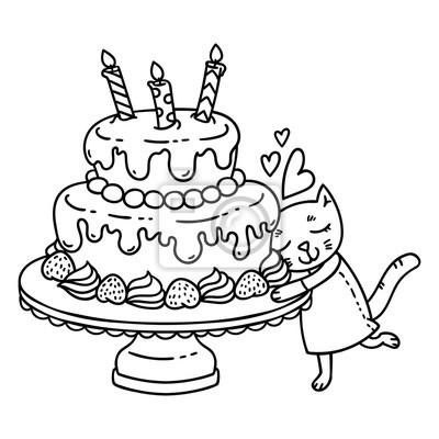 Urodzinowy Tort Z świeczką I ślicznym Kotem Pojedyncze Obiekty