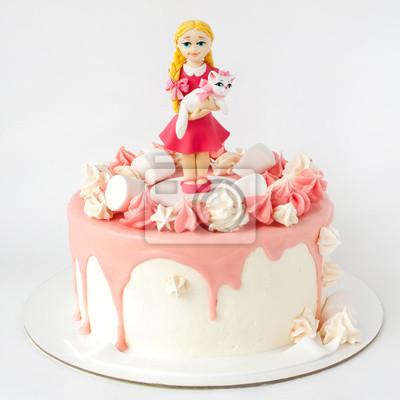 Urodziny Różowy Tort Ozdobiony Rysunek Dziewczyny Z Kotem Słodkie