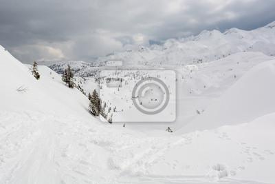 Fototapeta Uruchomione zjazdowe trasy narciarskie