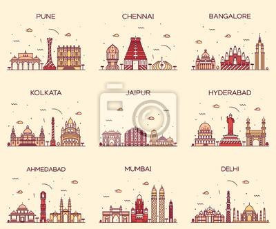 Fototapeta Ustaw Indian skylines Bombaj Delhi Jaipur Kalkuta