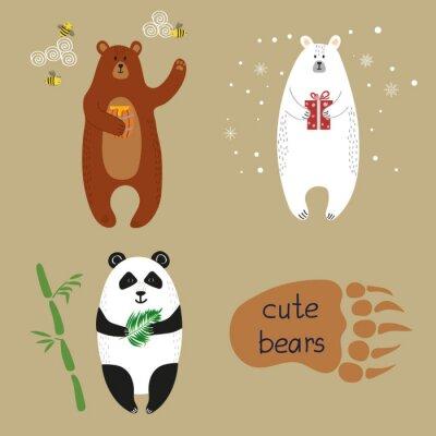 Fototapeta ustaw słodkie misie. Zbiór ilustracji wektorowych cartoon niedźwiedź brunatny, niedźwiedź polarny i panda.