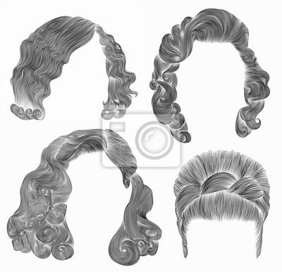 Ustaw Włosy Kobiet Czarny Rysunek Szkicu Ołówkiem Retro Fryzura