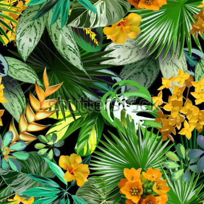 Fototapeta Vectoor tropikalne liście i kwiaty, wzór do pakowania papieru, tekstylia, tropikalny tło, projektowanie podróży, spa, kosmetyki