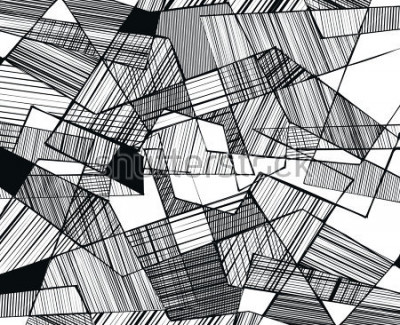 Fototapeta vector abstract geometric shapes with linear fill - 3