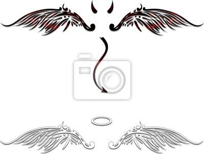Fototapeta Vector anioł i diabeł podczas projektowania