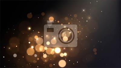 Fototapeta Vector background with golden bokeh dust, blur effect, sparks