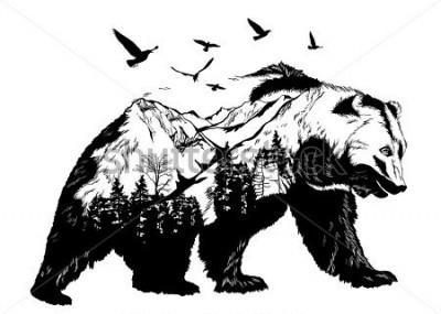 Fototapeta Vector Double exposure, bear for your design, wildlife concept