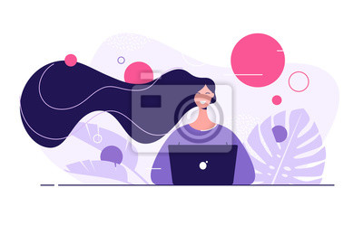 Fototapeta Vector flat style illustration of a young beautiful woman with laptop surrounded by tropical leaves