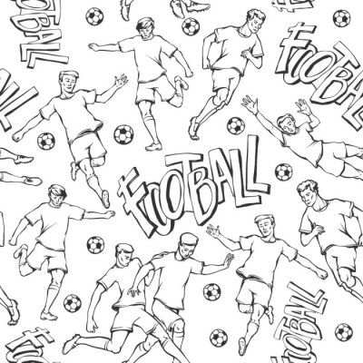 Fototapeta Vector football player with ball sketch seamless pattern. Soccers motion and goalkeeper sports uniform different poses and race. Black and white outline illustration and inscription painted letters
