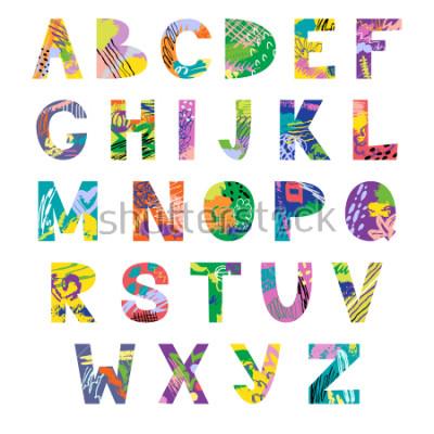 Fototapeta Vector hand drawn latin artistic alphabet. Doodle fancy abc. Colorful fanky creative font.