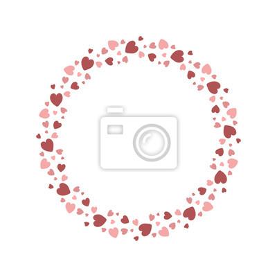 Fototapeta Vector Hearts Wreath Hearts Frame For Greeting Invitation