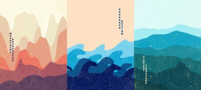 Fototapeta Vector illustration landscape. Wood surface texture. Hills, seascape, mountains. Japanese wave pattern. Mountain background. Asian style. Design for poster, book cover, web template, brochure.
