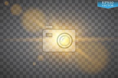 Fototapeta Vector przejrzyste światło słoneczne flary obiektywu specjalne efekt świetlny. Flash słońce z promieniami i reflektorów
