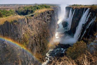 Fototapeta Victoria Falls. Ogólny widok tęczy. Park Narodowy. Mosi-oa-Tunya Park Narodowy. oraz Światowego Dziedzictwa UNESCO. Zambiya. Zimbabwe. Doskonałą ilustracją.